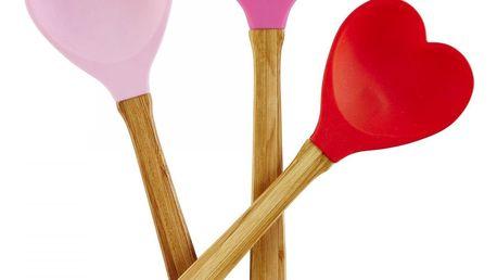 rice Silikonová servírovací lžíce Heartshape Červená, červená barva, růžová barva, dřevo, plast