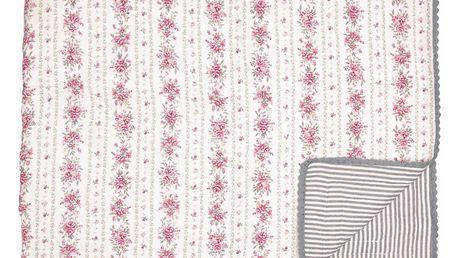 GREEN GATE Prošívaný přehoz Flora Vintage 140x100 cm, růžová barva, bílá barva