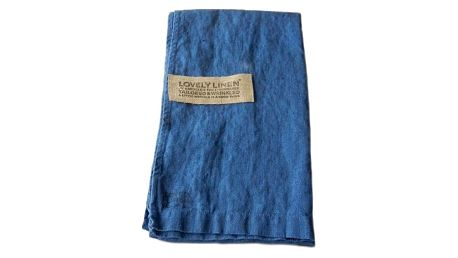 Lovely Linen Lněný běhoun na stůl Denim Blue, modrá barva, textil