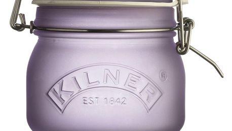 KILNER Skleněná dóza s klipem Purple Frosted 500 ml, fialová barva, sklo
