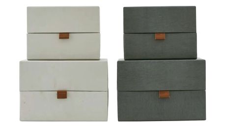 MONOGRAPH Úložný box Dark grey/Beige Tmavě šedý - větší, béžová barva, šedá barva, papír