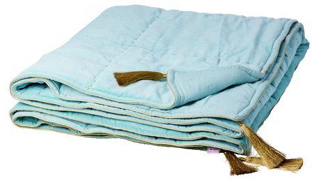 rice Sametová deka se zlatými třásněmi, modrá barva, textil