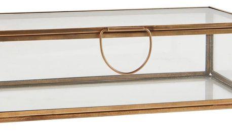 IB LAURSEN Skleněný box oblong, zlatá barva, sklo, kov
