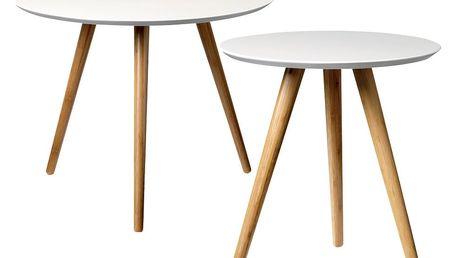 Bloomingville Kulatý stolek Bamboo/white Menší, béžová barva, bílá barva, dřevo