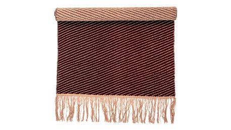 Bloomingville Kobereček Diagonal Burgundy, červená barva, oranžová barva, textil