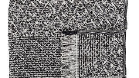 Bloomingville Froté ručník s třásněmi Black 100x50 cm, černá barva, textil