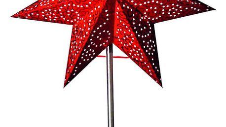 STAR TRADING Stolní lampa Red Star, červená barva, šedá barva, papír