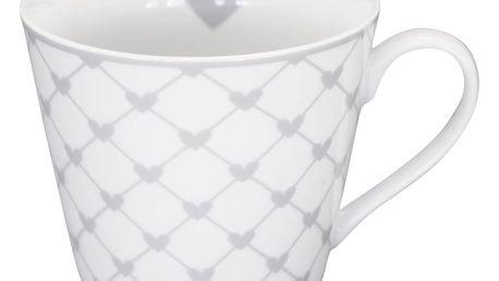 Krasilnikoff Hrneček Hearts white diagonal, šedá barva, bílá barva, porcelán 250 ml