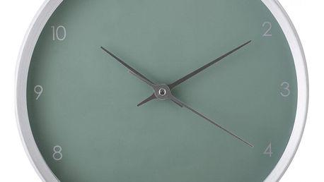 Bloomingville Nástěnné hodiny Aluminium Green, zelená barva, šedá barva, stříbrná barva, sklo, kov