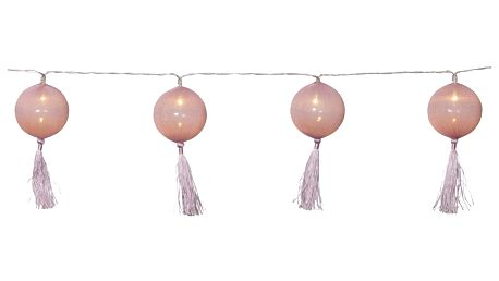STAR TRADING Dekorativní světelný řetěz Jolly Tassel Pink, růžová barva, plast, textil