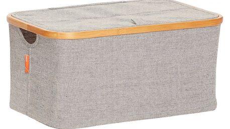 Hübsch Textilní úložný box Bamboo frame - větší, šedá barva, dřevo, textil