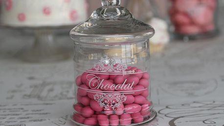 Chic Antique Skleněná dózička Chocolat, čirá barva, sklo