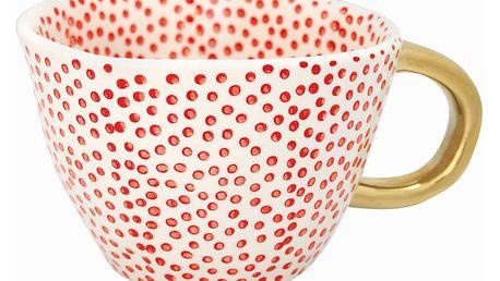 GREEN GATE Porcelánový hrnek Dot Red, červená barva, zlatá barva, porcelán