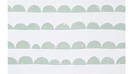 ferm LIVING Papírová tapeta Half Moon Mint, zelená barva, bílá barva, papír
