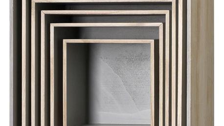 Bloomingville Nástěnný box Nature/Grey Velikost 2, béžová barva, šedá barva, hnědá barva, přírodní barva, dřevo