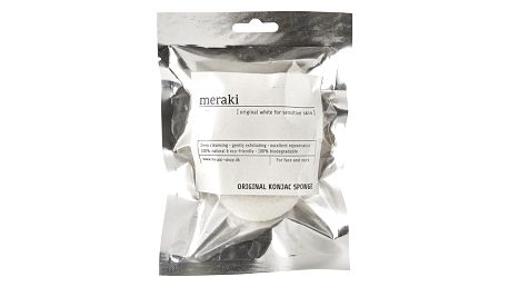meraki Konjaková houbička natural, bílá barva, stříbrná barva