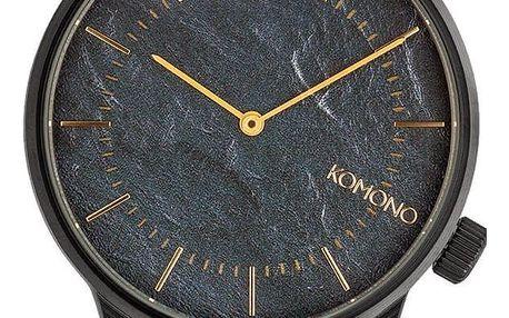 Komono Pánské hodinky Komono Winston Pewter, černá barva, kov, kůže