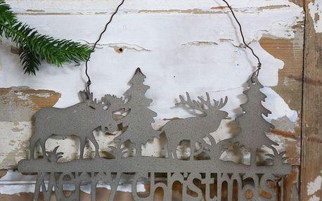 Chic Antique Plechová cedule Merry Christmas, šedá barva, kov