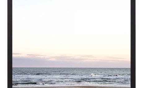 Bloomingville Obraz v rámu Calm Ocean, modrá barva, šedá barva, černá barva, přírodní barva, plast, dřevotříska