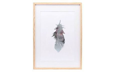 House Doctor Obraz v rámu z borovicového dřeva - FEATHER, zelená barva, bílá barva, přírodní barva, sklo, dřevo, papír