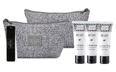 SCOTTISH FINE SOAPS Cestovní taštička s kosmetikou Au Lait, šedá barva, textil