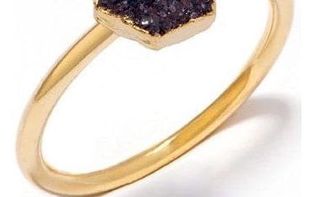 DECADORN Prsten Hexagon Dark grey/Gold Medium, šedá barva, černá barva, zlatá barva, kov, kámen