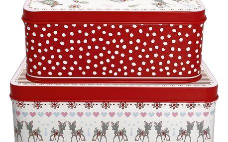 GREEN GATE Set plechových krabiček Bambi White, červená barva, kov
