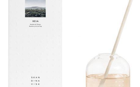 SKANDINAVISK Vonný difuzér HEIA (vřesoviště) 300 ml, bílá barva, čirá barva, přírodní barva, sklo, proutí