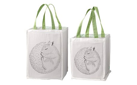 Bloomingville Úložný textilní box pro děti Squirrel Větší, zelená barva, bílá barva, textil