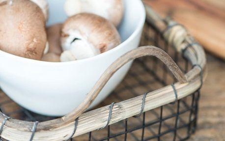 IB LAURSEN Drátěný košík Bamboo, černá barva, přírodní barva, dřevo, kov