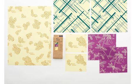 Bee's Wrap Set ekologických ubrousků - 7ks, fialová barva, zelená barva, žlutá barva, textil