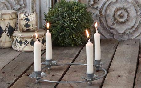 Chic Antique Adventní svícen Round Flower Antique, stříbrná barva, kov