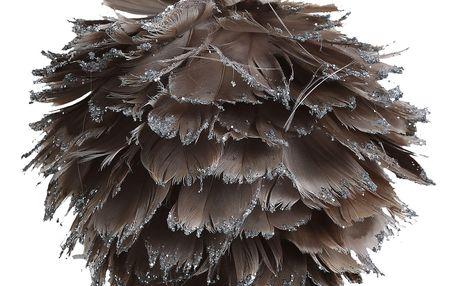 CÔTÉ TABLE Závěsná dekorace Plume gris - větší, šedá barva, hnědá barva, stříbrná barva