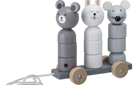 Bloomingville Dřevěná tahací hračka Lotus Grey, šedá barva, dřevo