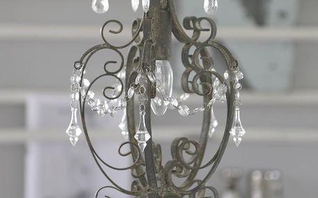 Chic Antique Kovový lustr Antik grey, šedá barva, kov