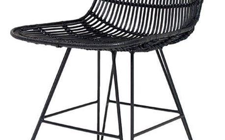 HK living Jídelní ratanová židle - Iron Black, černá barva, dřevo, kov