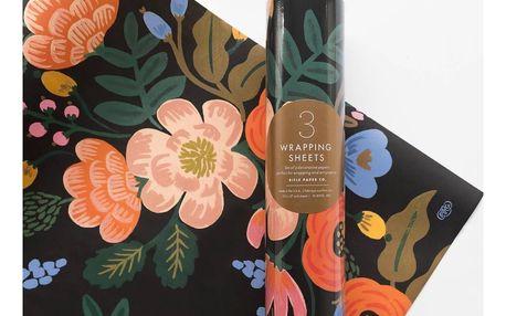Rifle Paper Co. Balicí papír s květinami Bordeaux - 3 listy, růžová barva, oranžová barva, černá barva, papír