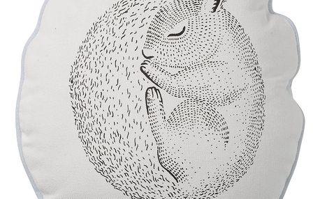Bloomingville Dětský polštářek Sleeping Squirrel, modrá barva, černá barva, bílá barva, textil