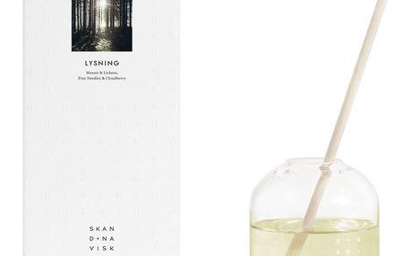 SKANDINAVISK Vonný difuzér LYSNING (lesní mýtina) 300 ml, bílá barva, čirá barva, přírodní barva, sklo, proutí
