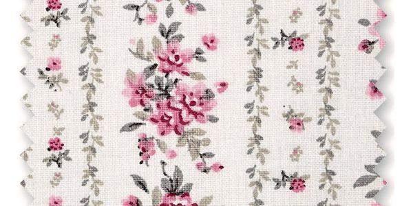 GREEN GATE Bavlněná látka Flora Vintage - 1m, růžová barva, bílá barva, textil