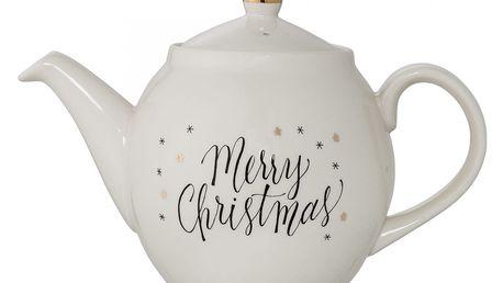Bloomingville Vánoční konvice na čaj Noel, zlatá barva, krémová barva, keramika