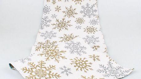 Dakls Běhoun Snowflakes bílá, 33 x 140 cm