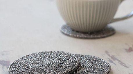 Chic Antique Podložky pod hrnky Pearls Antique Coal - set 4ks, šedá barva, textil