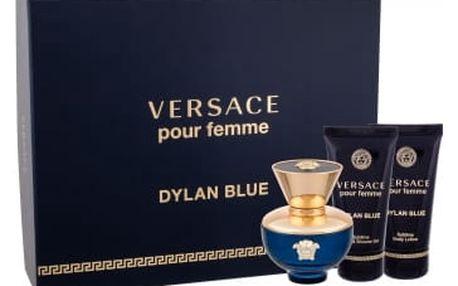 Versace Pour Femme Dylan Blue dárková kazeta pro ženy parfémovaná voda 50 ml + tělové mléko 50 ml + sprchový gel 50 ml