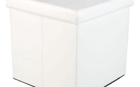 STILISTA 2494 Taburet s úložným prostorem, bílý