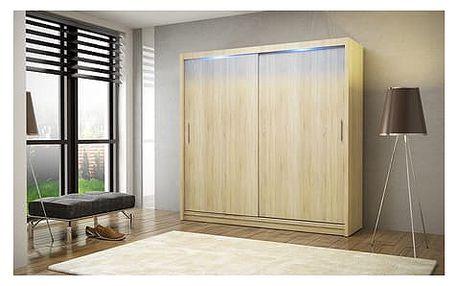 Kvalitní šatní skříň KOLA 2 dub sonoma šířka 180 cm Bez LED osvětlení