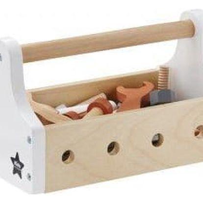 Kids Concept Dětská dřevěná sada nářadí Little Handyman, bílá barva, přírodní barva, dřevo