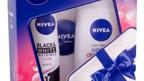 Nivea Care & Diamond dárková kazeta pro ženy sprchový gel Care & Diamond 250 ml + anti-perspirant Invisible For Black & White Clear 150 ml + Nivea Creme 30 ml