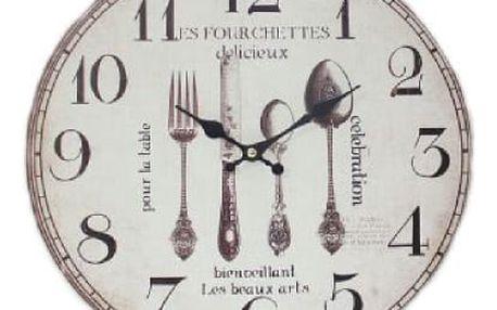 Krásné hodiny motiv příbory