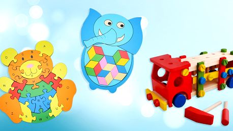 Vzdělávací dřevěné hračky: puzzle i vkládačka